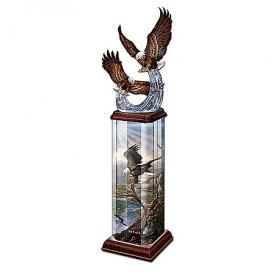 Collectible Eagle Art Illuminated Tabletop Sculpture: Splendor In The Sky