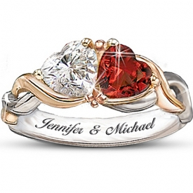 Two Hearts, One Love Heart-Shaped Personalized Ring: Romantic Jewelry Gift