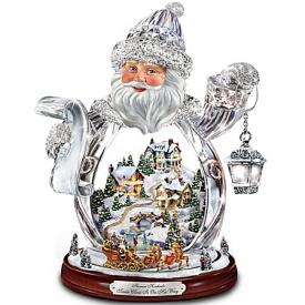 Thomas Kinkade Santa Claus Tabletop Crystal Figurine: Santa Claus Is On His Way