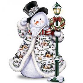 Thomas Kinkade Midwinter Magic Sculpture: Snowman With Illuminated Village Buildings