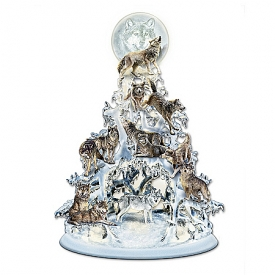 """The Legend Of The White Wolf"" Sculpted And Illuminated Tabletop Tree"