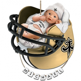 New Orleans Saints Personalized Baby's First Christmas Ornament