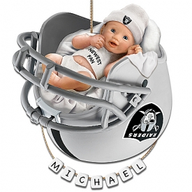 Oakland Raiders Personalized Baby's First Christmas Ornament