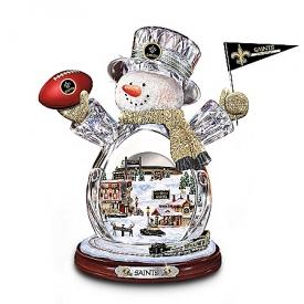 New Orleans Saints Masterpiece Edition Crystal Snowman Figurine