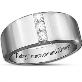 """Today, Tomorrow And Always"" 3-Diamond Men's Ring"