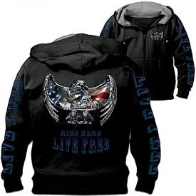 """""""Open Road"""" Men's Hoodie: Hooded Men's Jacket With Motorcycle Art"""