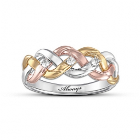 """Strength Of Our Faith"" Three-Cord Tri-Color Diamond Ring"