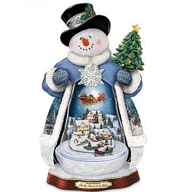 Thomas Kinkade 'Tis The Season To Be Jolly Christmas Musical Snowman Figurine: Lights Up!
