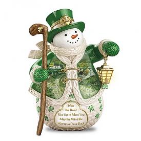 When Irish Eyes Are Smiling Snowman Figurine Featuring Edmund Sullivan's Landscape Art