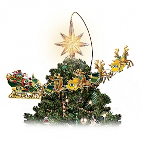 Officially Licensed Green Bay Packers Holiday Pride Super Bowl XLV Rotating Tree Topper