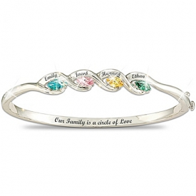 """Our Family Is A Circle of Love"" Personalized Birthstone Bracelet"