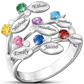 """Our Family Of Love"" Personalized Birthstone Ring"