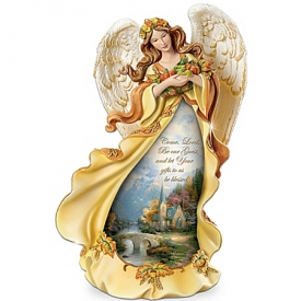 Thomas Kinkade Angel Of Grace Thanksgiving Figurine