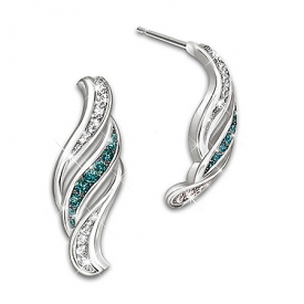 Cascade Of Beauty Blue And White Diamond Silver Earrings