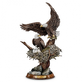 """Eagle Cam""-Inspired American Bald Eagle Sculpture: Treetop Majesty"
