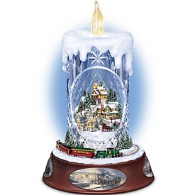Thomas Kinkade Musical Tabletop Centerpiece Crystal Candle: Making Spirits Bright