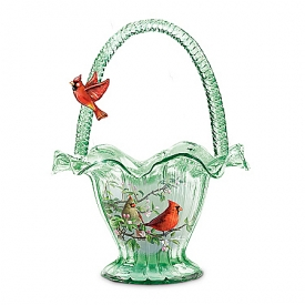 Cardinal Serenade Hand-Blown Art Glass Bowl