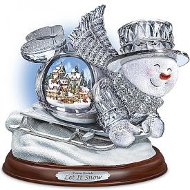 Thomas Kinkade Crystal Sledding Snowman: Let It Snow Figurine