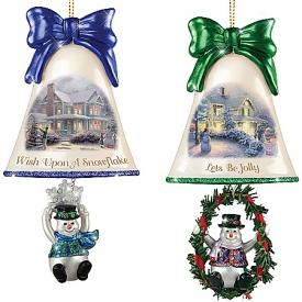 Christmas Ornaments: Thomas Kinkade Ringing In The Holidays Ornament Set: Set 4