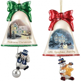 Christmas Ornaments: Thomas Kinkade Ringing In The Holidays Ornament Set: Set 5