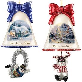 Christmas Ornaments: Thomas Kinkade Ringing In The Holidays Ornament Set: Set 6
