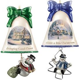 Christmas Ornaments: Thomas Kinkade Ringing In The Holidays Ornament Set: Set 7