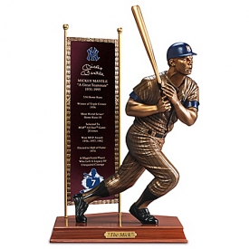 Hand-Painted MICKEY MANTLE Cold-Cast Bronze Sculpture