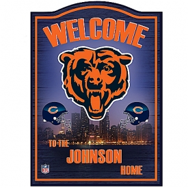 Chicago Bears Wooden Personalized Welcome Sign Wall Decor