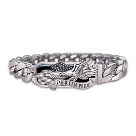American Pride God Bless America Stainless Steel Men's Bracelet