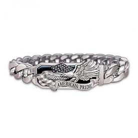 American Pride God Bless America Stainless Steel Men's Bracelet