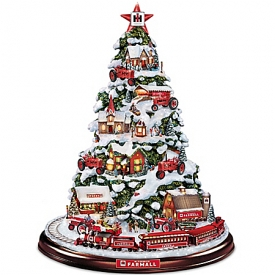 Farmall Heart Of The Holidays Illuminated Tabletop Tree With Lights And Moving Train
