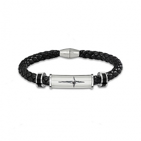 Bracelet: Protection And Strength For My Son Leather And Steel Cross Men's Bracelet