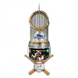 Boston Red Sox 2013 World Series Champions Dustin Pedroia Christmas Ornament