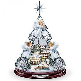 Thomas Kinkade Blessings Of The Season Crystal Angel Tabletop Tree Plays Silent Night