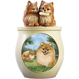 Cookie Capers: The Pomeranian Cookie Jar Featuring Linda Picken's Dog Art