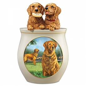 Cookie Capers: The Golden Retriever Handcrafted Cookie Jar