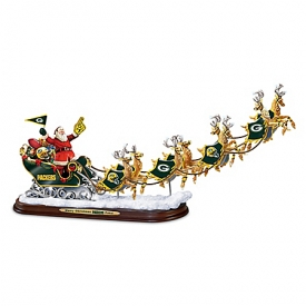 A Packers Merry Christmas! Green Bay Packers Santa Claus Sleigh Sculpture