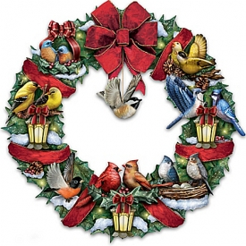 Merry Melodies Lighted Songbird Wreath Plays Medley Of Christmas Carols