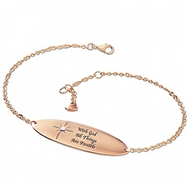 A Touch Of Heaven Engraved Copper Healing Diamond Bracelet