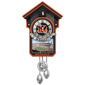 Cincinnati Bengals NFL Cuckoo Clock With Game Day Image