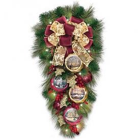 Thomas Kinkade Welcome Christmas LED-Lighted Teardrop Wreath