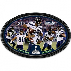 Collector Plate: Seattle Seahawks Super Bowl XLVIII Champions Oval Collector Plate