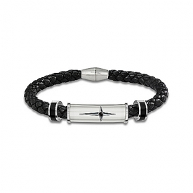 Bracelet: Protection And Strength For My Grandson Men's Leather And Steel Bracelet