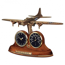 B-17 Flying Fortress Bronze Thermometer Clock