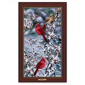 Bradley Jackson Cardinals In Snow Illuminated Wall Decor Canvas Print