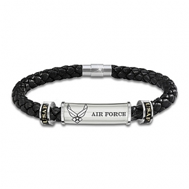 Air Force Personalized Men's Braided Black Leather ID Bracelet