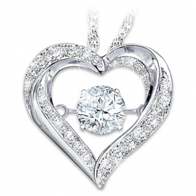 Always In My Heart Brilliant Motions Heart-Shaped Daughter Topaz Pendant Necklace