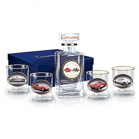 Corvette Multi-Generations Five Piece Decanter Set With Glasses