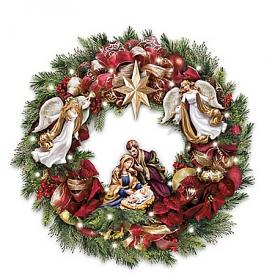 Thomas Kinkade Season's Blessings Light Up Nativity Scene Wreath