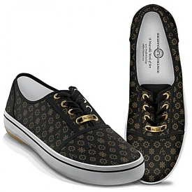 Alfred Durante Designer Black And Gold Women's Shoes